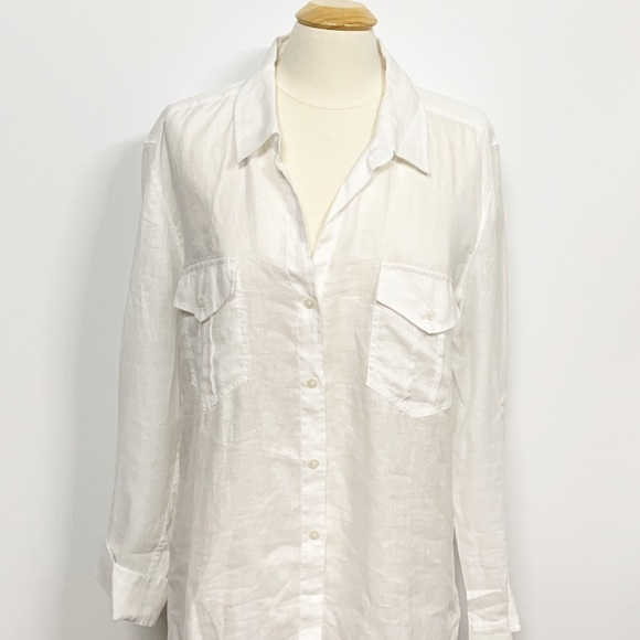 UNTUCKit Tops - UNTUCKit | White Linen Button-up Blouse SZ 16